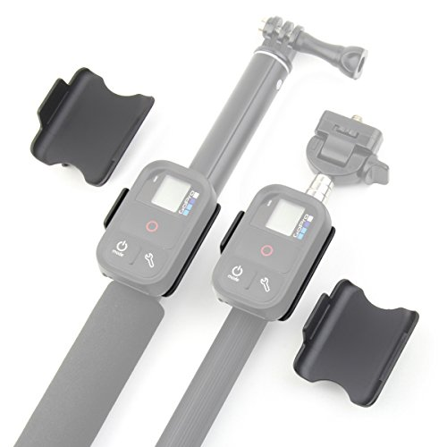 (Qiuniu Remote Control Clip Mount Lock Holder Adapter (Large and Small set) for monopods - compatible with GoPro HERO 3, HERO 3+ and HERO 4 remote controls)