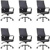 Conjunto com 6 Cadeiras de Escritório Diretor Cleaner Preto