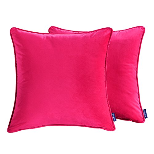Cieltown Solid Decorative Throw Pillow Cases, 2-pack Cushion Covers, 18''x18'', Super Soft (Fuchsia) (Navy And Pink Throw Pillows)
