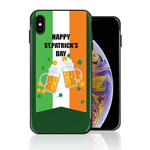 Silicone Case for iPhone 8 Plus and iPhone 7 Plus, Ireland Flag Beer Pattern Happy St Patrick's Day Design Printed Phone Case Full Body Protection Shockproof Anti-Scratch Drop Protection Cover ()