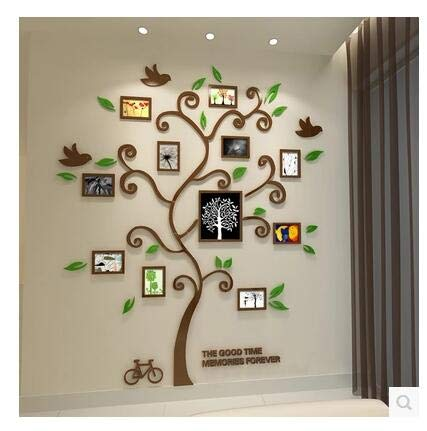 (Wall Stickers - New 11pcs Photo Frame Tree Acrylic 3D Three-Dimensional Wall Stickers TV Sofa Home Decorative DIY Crystal Decal Family Tree - by PPL21-1 PCs)
