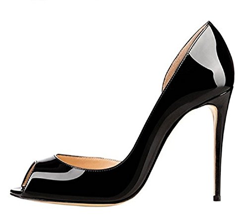 Emiki Women Solid Side Empty Stilettos Court Shoes Patent Leather Peep Toe Thin Heels Nightclub Wedding Party Shoes Customized Black re77taO1n