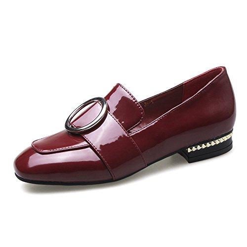 Chaussures Femmes Simple Tête Carrée à Talons Bas épais avec Grande Taille Vintage Casual Red Wine 7XSRWl7nz