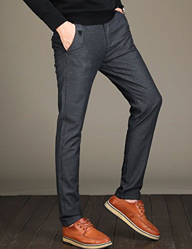 Men's Tapered Slim Fit Wrinkle-Free Casual Stretch Dress Pants,Classic Fit Flat Front Trousers,Grey Pants