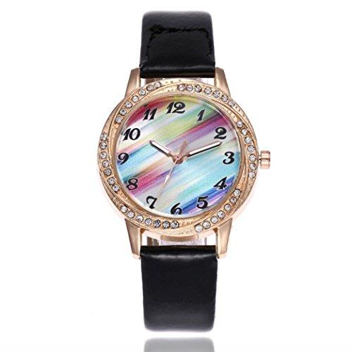 FAPIZI Clearance✿Gift Watch Hot Sale Women{Fashion}Leather Band/Analog/Quartz Round{Wrist Watch}Watches (Black) (Ladies Leather Calendar Watch Band)