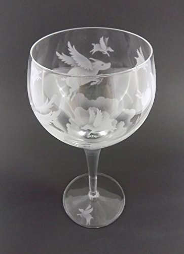 Hand Etched Luigi Bormioli Michelangelo Masterpiece Italian Crystal Goblet Sandblasted (Sand Carved) Handmade Wine Water Glass Engraved (Pigs Flying Over Clouds, 500ml (17 Ounce) Red - Crystal Pig