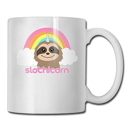 ZhiqianDF Cute Slothicorn Rainbow Unique Morning Cup,11oz