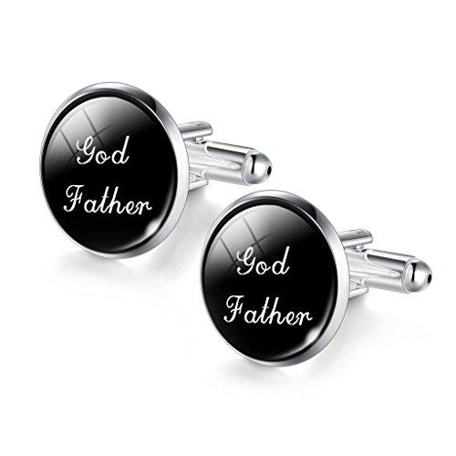 DALARAN God Father Wedding Cufflinks for Men Dad Boys Mens White and Black Letters Cufflinks Wedding Christmas (1 Dad Cufflinks)