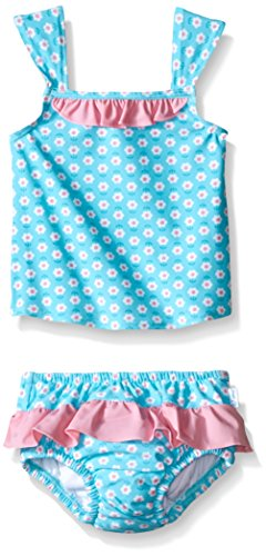 i play. 2pc Ruffle Tankini Swimsuit Set With Snap Reusable Absorbent Swim Diaper