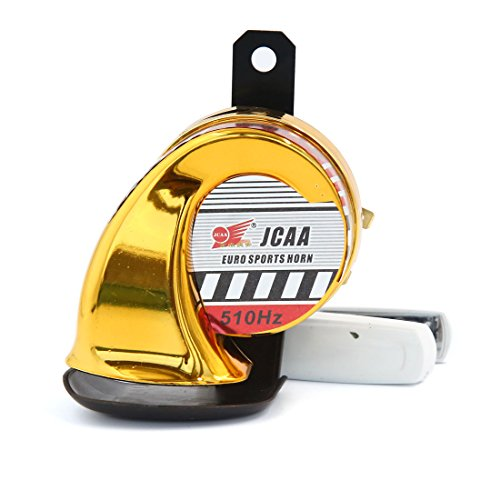 uxcell 12V 510Hz Gold Tone Waterproof Air Snail Shape Horn for Motorcycle Vehicle