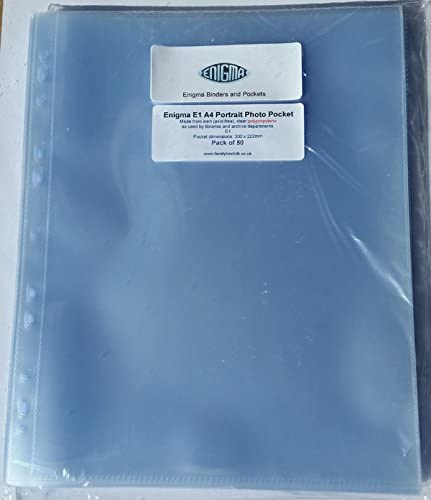 1 pocket per page 50 pack Enigma Xtra Acid Free HD A4 Portrait E1 Photo Sleeves for Ring Binder Albums