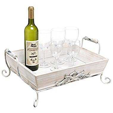 Vintage Shabby Chic White-Washed Wood Decorative Double-Handled Display / Serving Tray - MyGift® Home