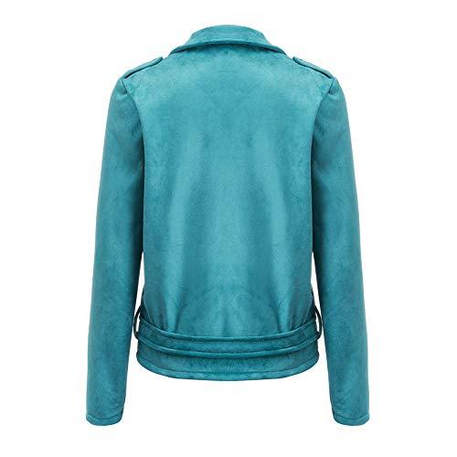 Manteau Jacket Moto Bombers Court Casual Chic Manches Blouson Automne Bleu Femmes Femme Veste Printemps Bomber Longues Zipper Mode Biker qnY5w4v