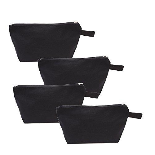 Augbunny 100% Cotton 16oz Heavy Duty Multi-Purpose Canvas Zipper Cosmetics Makeup Travel Toiletry Organizing Pouch 4-Pack