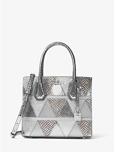 (MICHAEL MICHAEL KORS MERCER medium messenger - metallic crackle leather, Light Pewter)