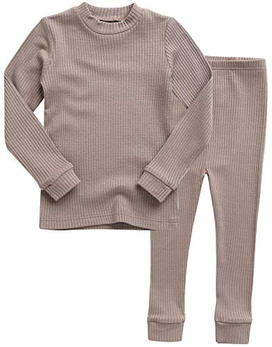 Vaenait baby Kids Girls Long Sleeve Modal Sleepwear Pajamas 2pcs Set Rib Knit Beige L