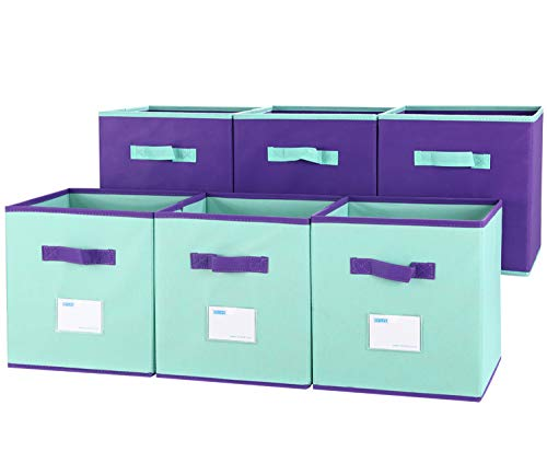 TQVAI Mix Color Foldable Storage Cubes 6 with Label Holder Colorful Kid Toy Basket Bins - 6 Pack - Mix Purple & Mint Green]()