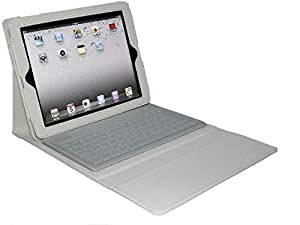 White Leather Case Cover With Wireless Bluetooth Keyboard For Apple Ipad 2 3