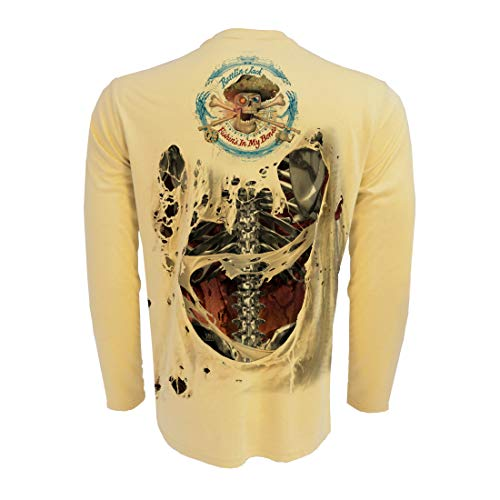 Rattlin Jack Men's Sublimated Uv Fishing Shirt Skeleton on Back Steel 3XL Yellow