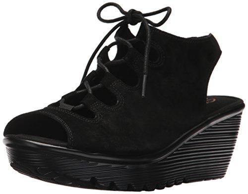 Skechers Women's Parallel Peep Toe Ghillie Slingback Wedge Sandal, Black, 10 M (Leather Peep Toe Slingback Wedge)