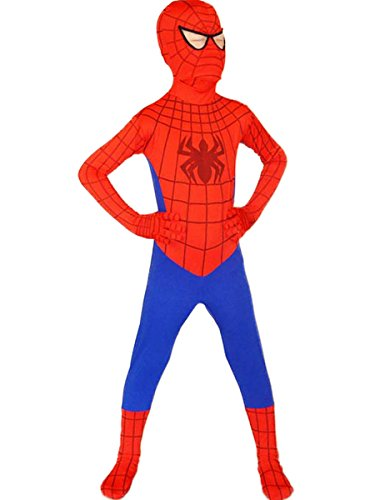 [Spiderman Costume Boy Superhero Cosplay Kids Bodysuit Halloween (Large, Red)] (Spiderman Bodysuit)