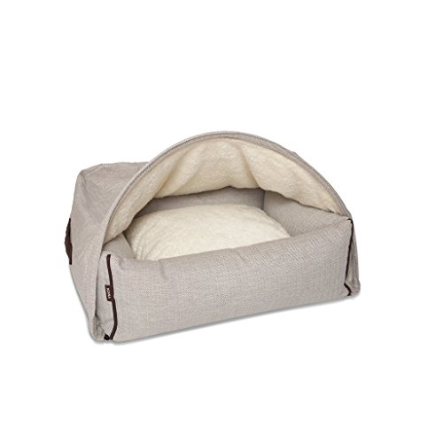 Kona Cave - Eine Kuschelhöhle für ihren Hund, Luxus Hundebett zum reinkriechen, klassisch, elegant, hochwertig, das beste Bett für Hunde, die gerne unter die Decke kuscheln (Klein, Fischgerätenmuster, Creme)