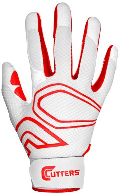 Cutters Gloves Youth Lead-Off Baseball Batting Glove, White/Red, Small