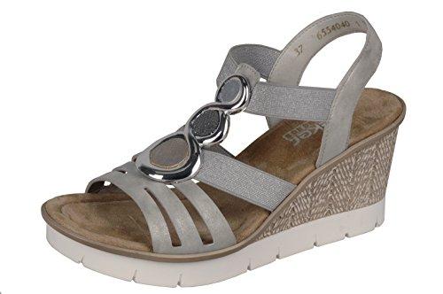 Rieker Mujeres Sandalias gris, (grey/fango-silver/al) 65540-40 grey/fango-silver/altsilber/argento / 40