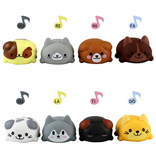 Livoty New 8Pcs Musical Toys,Funny Education Musical Scale Cat/Dog Electric Player Piano Choir Toys Gift for Children Kids (Dog)