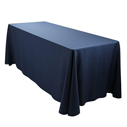 E-TEX Oblong Tablecloth - 90 x 132 Inch Rectangle Table Cloth for 6 Foot Rectangular Table in Washable Polyester ,  Navy Blue (Navy Blue Linen)