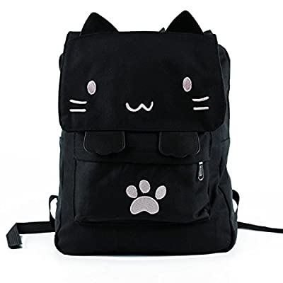 durable service Tskybag Cute Canvas Cat Print Backpack School Bag Lightweight Bookbags School Rucksack Travel Laptop Backpack For Women Kids Girls Boys