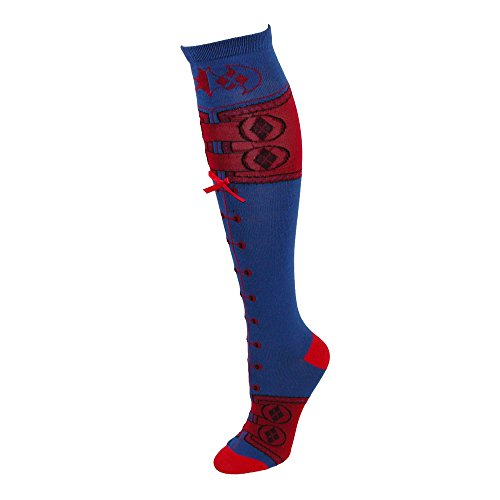 DC Comics Harley Quinn Suit Lace Up Knee High Socks ()
