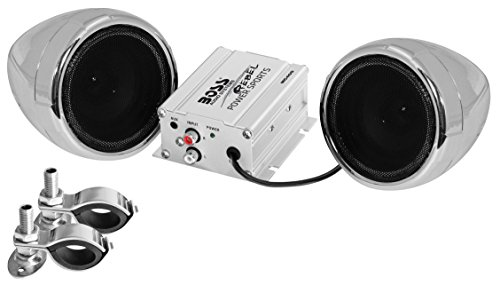 BOSS Audio MC400 All-Terrain, Weatherproof Speaker And Amplifier Sound System, Two 3 Inch Speakers, Compact Amplifier, Inline Volume Control, Ideal For Motorcycles/ATV and 12 Volt Applications