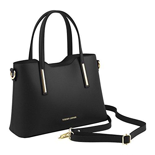 Tuscany Leather Olimpia Bolso Shopping en piel Ruga - Misura pequeña Azul oscuro Bolsos con asas Negro