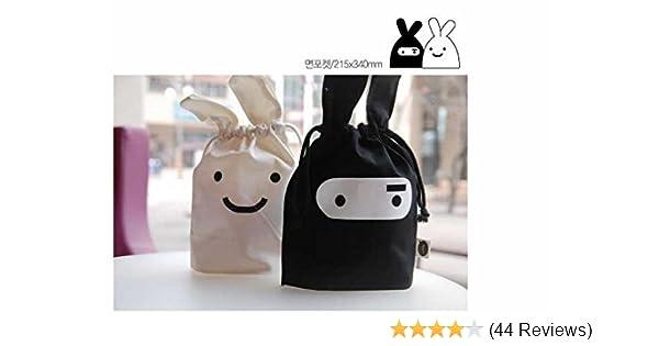 1 X Korean Adorable Travel Ninja Rabbit Pouch Tote Bag Drawstring Bag (Black)