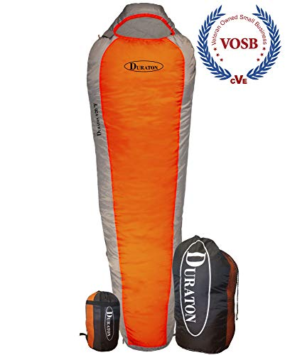 DURATON Mummy Sleeping Bag 20 Degree Weather, Lightweight with Compression Sack for Camping or Backpacking, Warm for Both Adults and Kids (Orange) ()