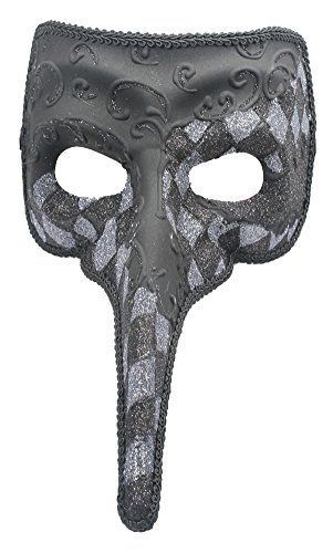 RedSkyTrader Mens Checkered Long Nose Venetian Mask One Size Fits Most (Silver Venetian Long Nose Mask)