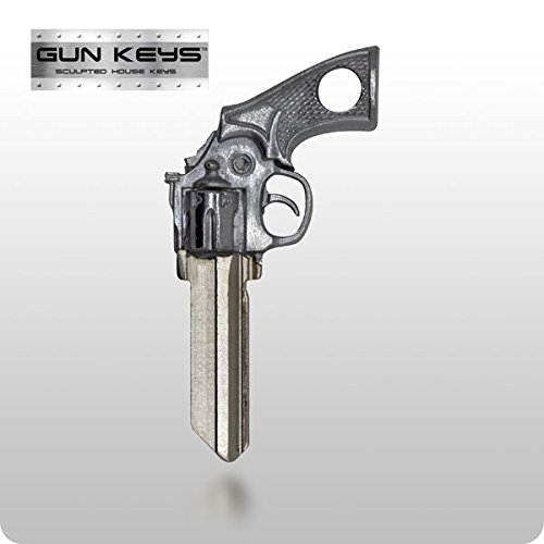Uncut House Key - Gun Key 3D Revolver Pistol House Key for Schlage House LocksFree Gift Box! (No Gift Box Needed)