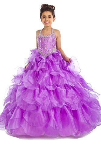 GreenBloom Flower Girls Crystals Princess Ruffled Pre-Teen Pageant Dress Purple 4