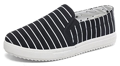 Aisun Heren Casual Gestreepte Slip-canvas Schoenen Sneakers Zwart