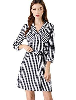 Allegra K Women's Notched Lapel Pockets Tie Waist Stripped Plaid Shirt Dress