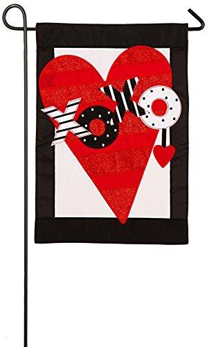 Evergreen Valentine's Heart Applique Garden Flag, 12.5 x 18 inches
