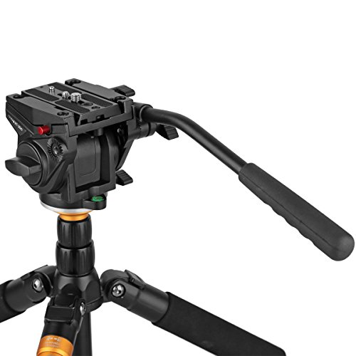 Heavy Duty Video Camera Fluid Drag Head,KINGJOY Fluid Drag Pan Tilt Head for DSLR Camera Video Camcorder Shooting Filming