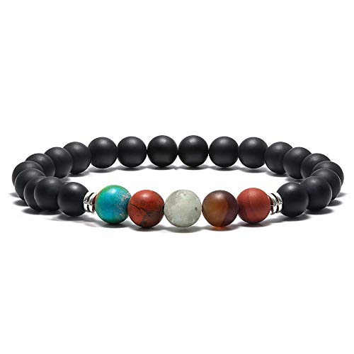 Turquoise Stone Precious Semi - Gemstone Bead Bracelets, 8mm Natural Black Matte Agate Stone Spacer Beads Bracelet, Men Women Stress Relief Yoga Beads Elastic Semi-Precious Gemstone Natural Maps Picasso Beads Bracelet Bangle