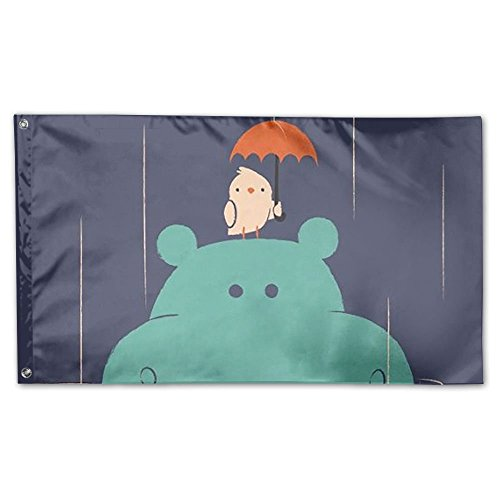 Xyou Bird Held An Umbrella Over The Hippo's Head Flag 3x5 Ft