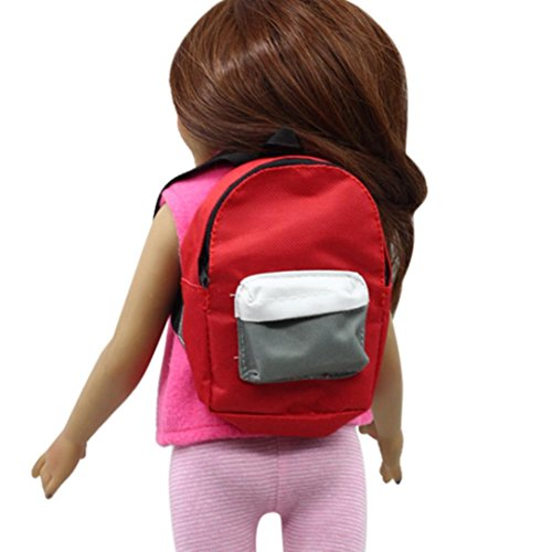 Vovomay Cute Mini Double Straps Backpack School bag For 18 inch Our Generation American Girl Doll (Red)