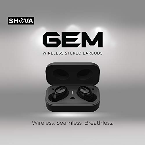Near Gem - SHAVA GEM Wireless Earbuds, Bluetooth Headphones with Noise Cancelling and Microphone, True Wireless Earbuds with Wireless Charging and 3D Stereo Sound (Wireless Charger Included, Black Color)