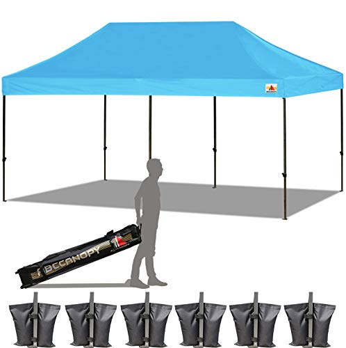 ABCCANOPY 18+ Colors 10x20 Pop up Tent Instant Canopy Commercial Outdoor Canopy Wheeled Carry Bag Bonus 6X Weight Bag (Sky Blue)