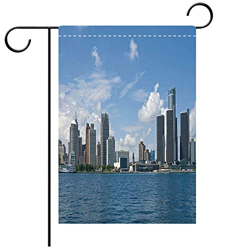 Custom Personalized Garden flag Outdoor flag Detroit Decor Downtown Detroit GM Renaissance Center Ford Auditorium Shoreline Light Blue Decorative Deck, patio, Porch, Balcony Backyard, Garden or Lawn