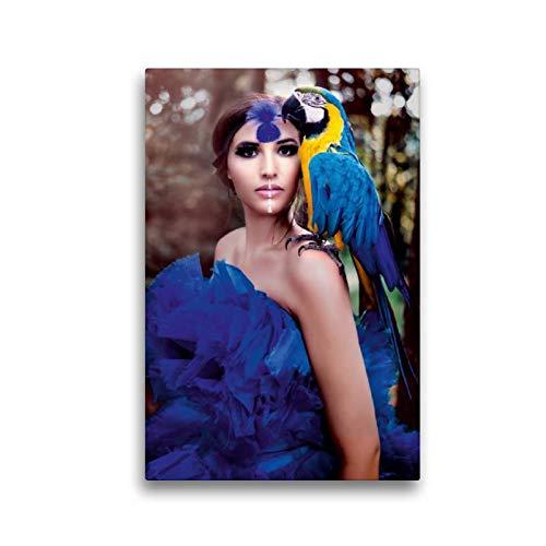 CALVENDO Toile en Textile de qualité supérieure avec Perroquet Bleu 30 x 45 cm